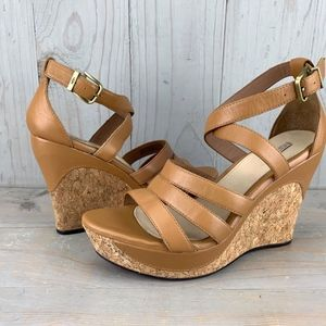 UGG DILLION LEATHER  CORK WEDGE HEELS